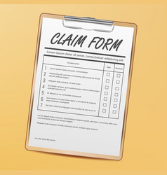 claim form medical office paperwork vector image