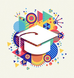College graduation icon school concept color shape vector