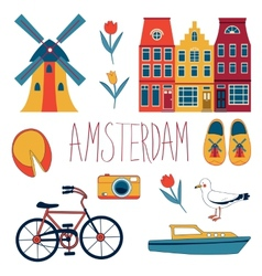 Colorful Amsterdam set vector image vector image