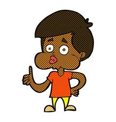 comic cartoon boy giving thumbs up vector image