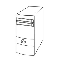 Computer case icon in outline style isolated on vector