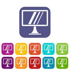 Computer monitor icons set vector