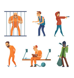 Criminals and prisoners set of characters vector