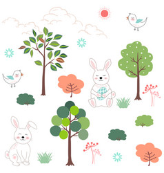 cute rabbits in the forest seamless pattern vector image