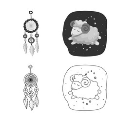 Design of dreams and night icon collection vector