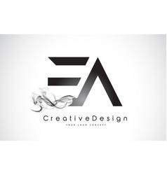 Ea letter logo design with black smoke vector