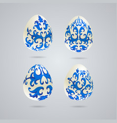 easter eggs with various colors vector image