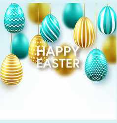 easter golden green egg with calligraphic vector image