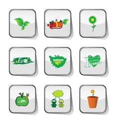 Eco icon green on sticker vector