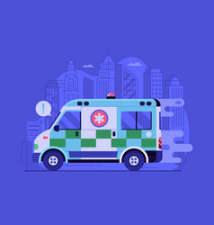 Fast ambulance car city emergency service scene vector