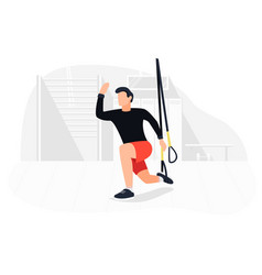 fit man working out on trx doing bodyweight vector image