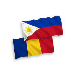 Flags romania and philippines on a white vector