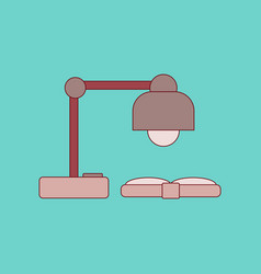 Flat icon with thin lines lamp book vector