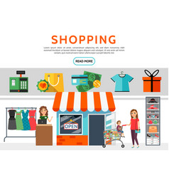 flat shopping elements set vector image