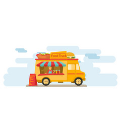 Food vendor on the downtown street vector