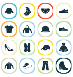 Garment icons set collection of stylish apparel vector