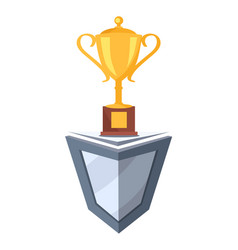 Golden cup prize icon on stand vector