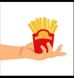 Hand holding french fries vector