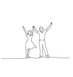 Happy couple holding hands up together one line vector