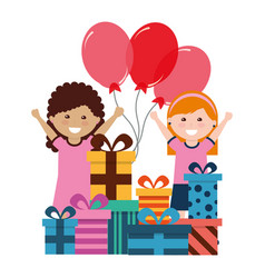 happy girls with birthday gifts and balloons vector image