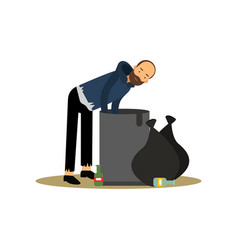 homeless man looking for food in a trash can vector image