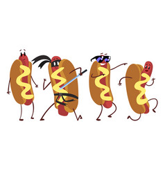 hot dogs collection humanized fast food cartoon vector image