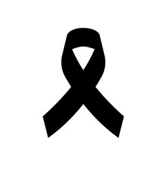 icon black awareness ribbon on white background vector image