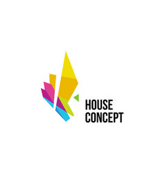 isolated colorful real estate agency logo house vector image
