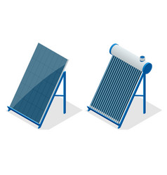 Isometric home solar energy equipment vector