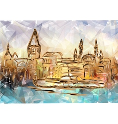 istanbul on multicolor background vector image