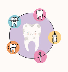 Kawaii caricature dirty tooth dental care with sad vector