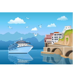 landscape with great cruise liner near coast with vector image