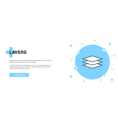 layers icon banner outline template concept vector image
