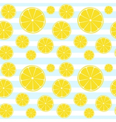 Lemons slices on blue white striped seamless patte vector image