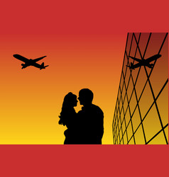 Lovers in airport at sunset vector