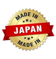 Made in Japan gold badge with red ribbon vector