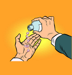 man hand pours out pills hearts vector image