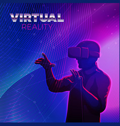 Man in virtual reality glasses vector