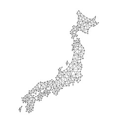 map of japan from polygonal black lines and dots vector image