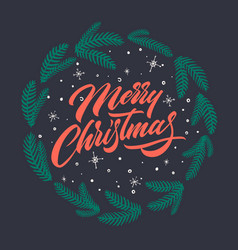 merry christmas text for greeting cards vector image