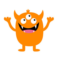 Monster orange silhouette cute cartoon kawaii vector