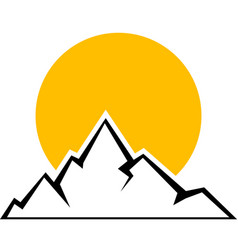 mountain icon with yellow sun vector image