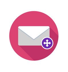 Move mail icon email icon with long shadow vector