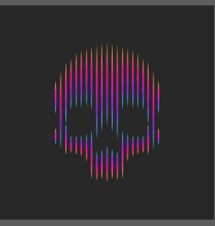 neon skull logo artwork striped pattern t-shirt vector image