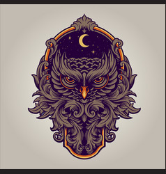 night owl predator with frame ornaments swirl vector image