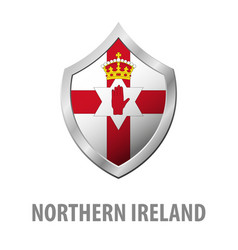 Northern ireland flag on metal shiny shield vector