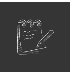 Notepad with pencil Drawn in chalk icon vector image