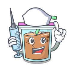 Nurse bubble tea character cartoon vector