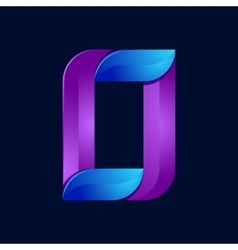 O letter volume blue and purple color logo design vector image