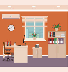 Office room interior with workspace and cityscape vector
